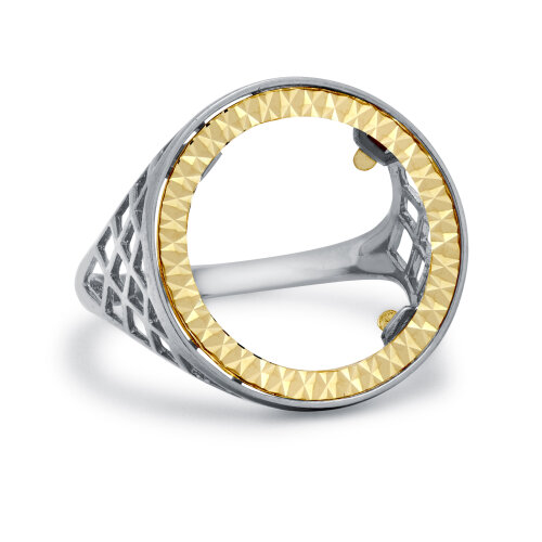 (Q) Jewelco London 925 Sterling Silver Basket Full Sovereign Coin Mount Ring - 9ct Gold Bezel