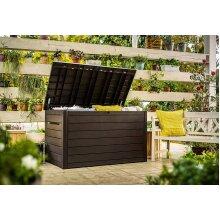 Keter Ontario Huge Waterproof Wood Look 870 litre Storage Box - Brown