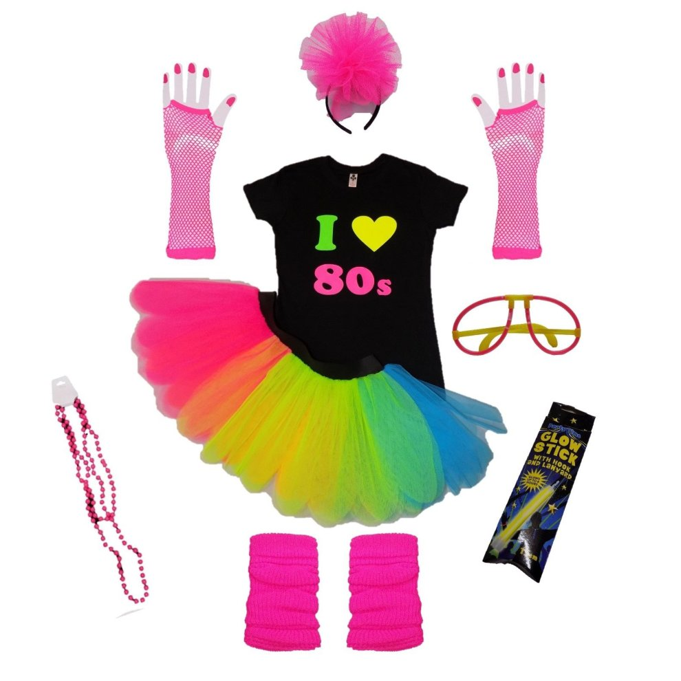 FLUORESCENT MULTICOLOURED TUTU CHILDRENS ADULT XL XXL