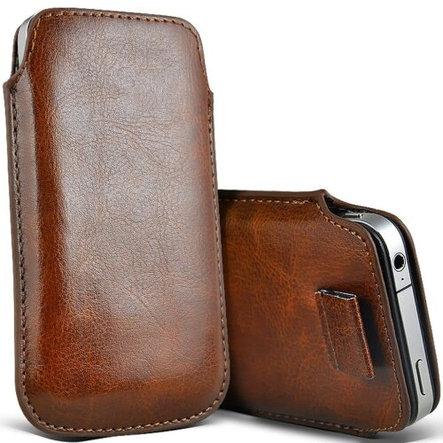 Samsung Galaxy J3 (2018) Brown Pull Tab Sleeve Faux Leather Pouch Case Cover (XXXL)
