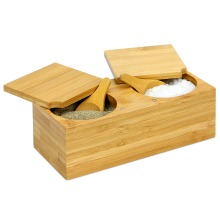 Bamboo Spice Salt & Pepper Box (with 2 spoons)   M&W