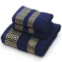 Cotton Towel Set Bathroom Geometric Pattern Bath Towel For Adults Face Hand Towels Terry Washcloth Travel Sport Towel