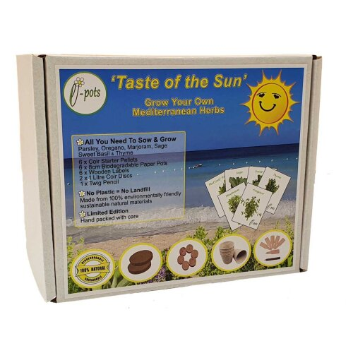 Grow Your Own Taste of the Sun Eco Gift Set   6 x Mediterranean Herb Seeds and Everything Needed to Sow and grow   Plastic Free Fun Gardening