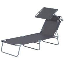 Outsunny Folding Chair Sun Lounger Recliner Seat Sunshade Garden Outdoor Grey