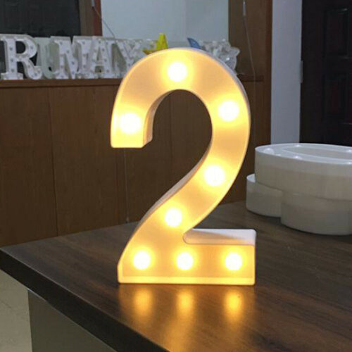 (2) 0-9 Numbers LED Light Up Birthday Party Standing Warm White Night Lamp Decor