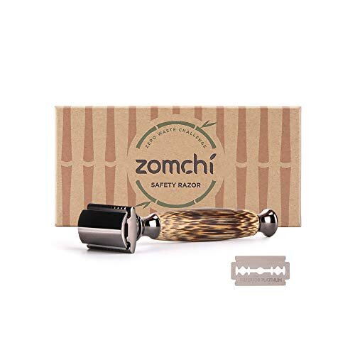Double Edge Safety Razor for Men or Women, Eco Razor with Natural Bamboo Handle, Unisex Sustainable Razor,Fits All Double Edge Razor Blades, Plastic-F