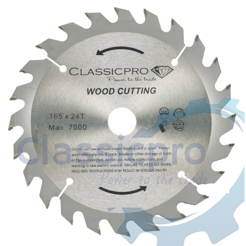 Classicpro TCT 165mm x 20mm/16mm Bore 24T Circular Saw Blade For Wood