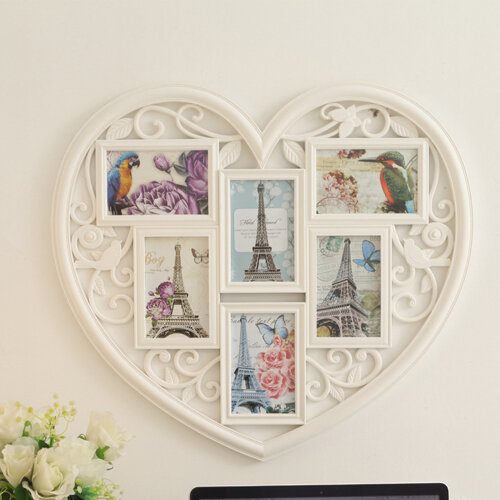 UK Large Photo Frame White Hanging Heart Shaped Multi Picture Love Frames Gift