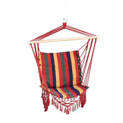 Outsunny Hammock Chair Swing Colourful Striped Seat Porch Indoor Outdoor Hanging