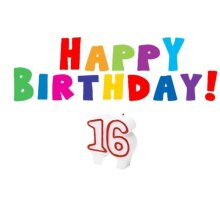 16 Lettered Happy Birthday Candle For Cakes 16th Birthday candle Teen