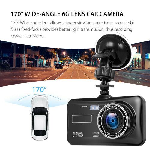 HD 1080P Car Dash HD Camera Recorder Dual Lens DVR Front + Rear Reverse Cam