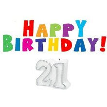 21 Lettered Happy Birthday Candles For Cakes 21st Birthday candle
