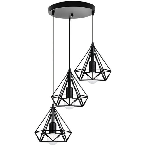 (Black) 3 Light Ceiling Pendant Lamp Metal Wire Frame Lights
