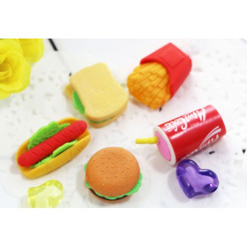 Fast Food Erasers Burger Sandwich Hotdog Chips Fizzy Drink Pizza Ice Cream Ice Lollyrubbers A Set Of 5