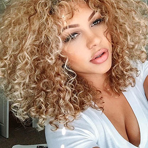 Top Hair Blonde Synthetic Afro Curly Hair Wig For Black Women Short Kinky Hair Jerry Curly Resistance Fiber Blonde Synthetic Wig On Onbuy