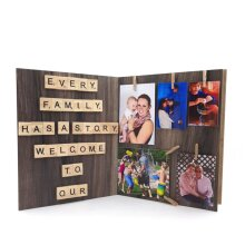 Every Family Has A Story, Welcome To Our Personalized Scrabble Tile Frame Photography Collage Parents Grandparents Gift Print