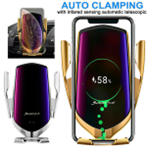 Wireless Fast Car Charging Charger Automatic Clamping Mount Phone Holder