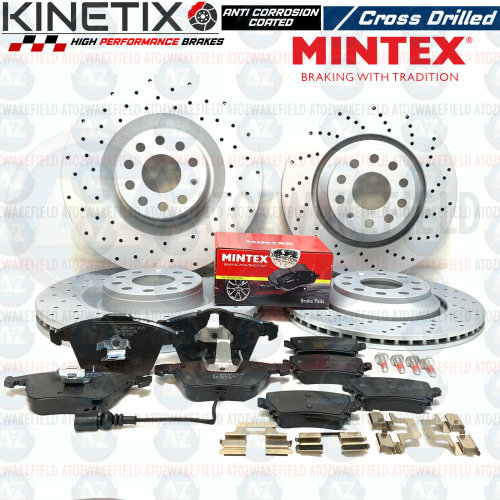 Golf Mk5 R32 Mk6 R Audi S3 front rear kinetix drilled brake discs & Mintex pads