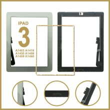 For iPad 3 Touch Front Glass Digitizer Replacement With Home Button - White