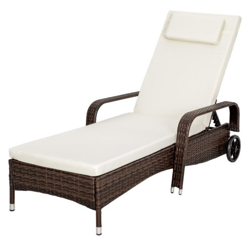 TecTake Rattan Sun Lounger - Brown | Rattan Sun Lounger With Wheels