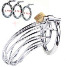 Mens Steel Adjustable Locking Chastity Cock Cage