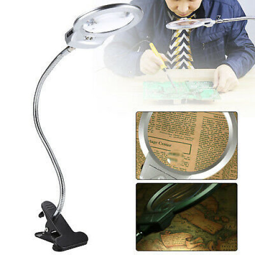 LED-illuminated Clip-on Desk Metal Hose Magnifying Glass Loupe