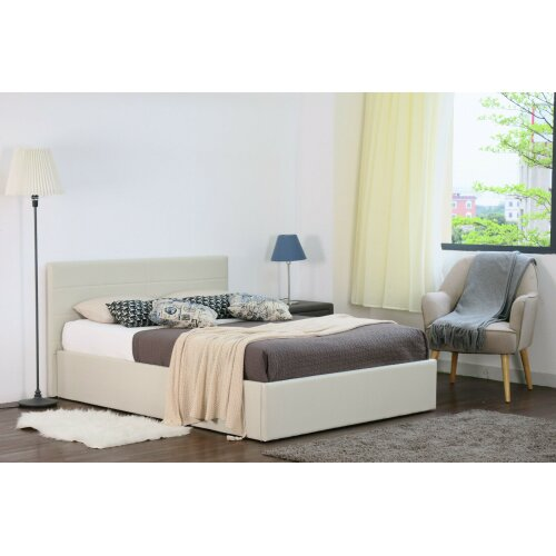 Chanel Linen Fabric Storage Ottoman Bed with Ivy Mattress