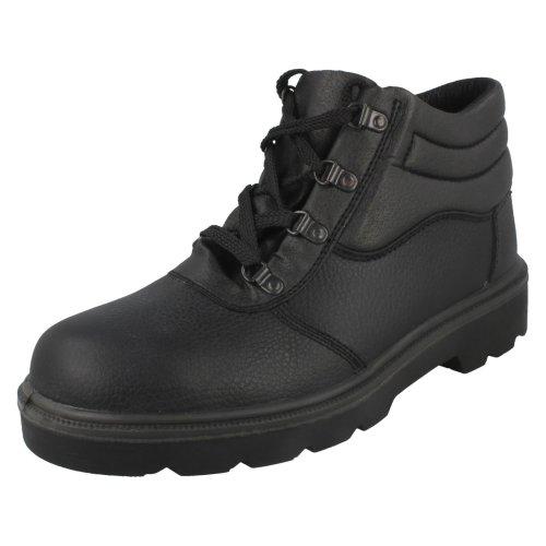 Mens Spot On Safety Boots - Black Leather - UK Size 9 - EU Size 43 - US Size 10