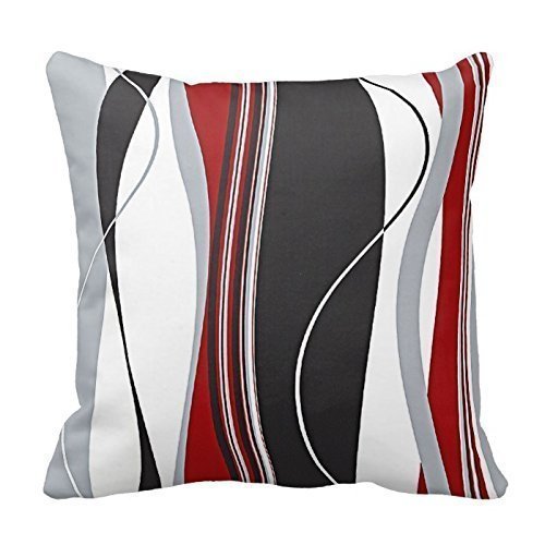 Wavy Vertical Stripes Red Black White and Grey Pillow Cover For Living Room, Sofa, Etc