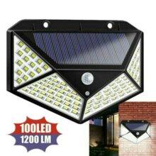 100 LED Solar Power Lamp PIR Motion Sensor Wall Lights Outdoor Garden