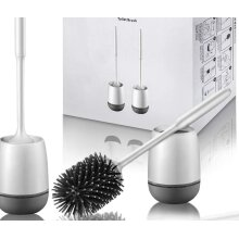 Toilet Brush and Holder 2 Pack, Silicone Toilet Cleaning Brush with Quick Drying Holder, 3.2 x 5.5 Inches, Gray & White, (Flooring/Mounted Wall)