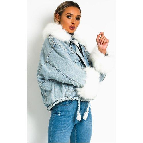 IKRUSH Womens Comet Faux Fur Denim Bomber Jacket
