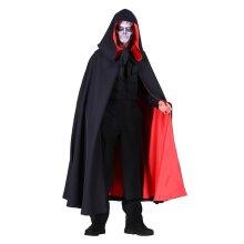 Deluxe Black / Red Hooded Cloak