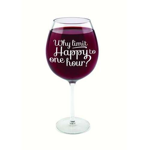 Wineglass huge Happy Hour Glass 750 ml Novelty Item Size