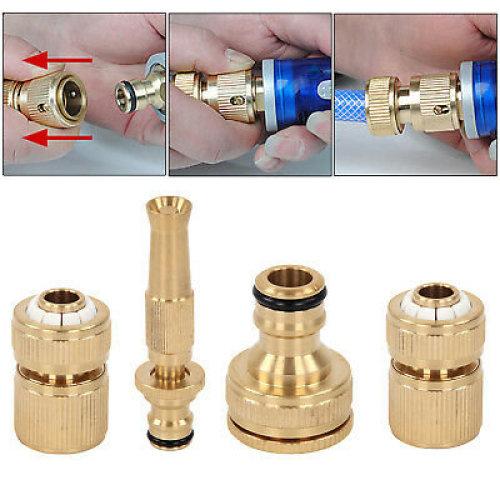 4pcs/set Brass Hose Pipe Fitting Set Garden Tap Quick Connectors & Spray Nozzle