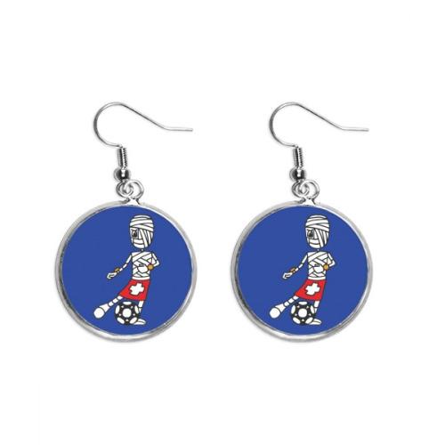 Soccer Player Cartoon Mummy Ear Dangle Silver Drop Earring Jewelry Woman