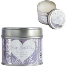 Sentiment Candle in Tin - Happy Birthday