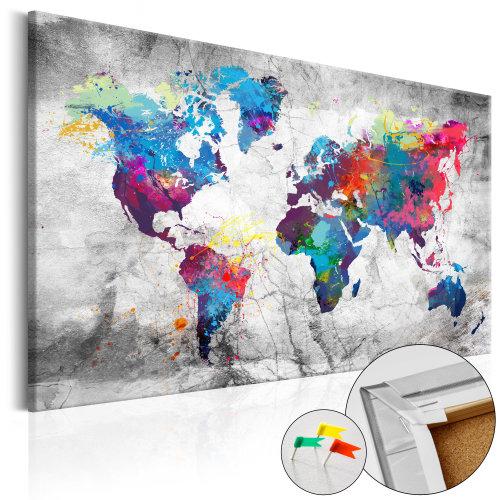 Decorative Pinboard - World Map: Grey Style [Cork Map]