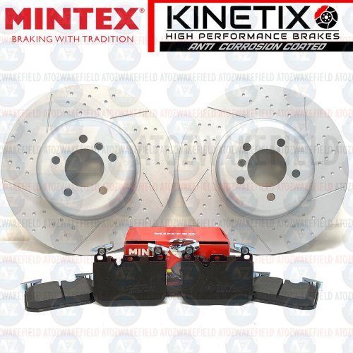 FOR BMW 340i M SPORT FRONT DIMPLED GROOVED BRAKE DISCS MINTEX PADS 370mm