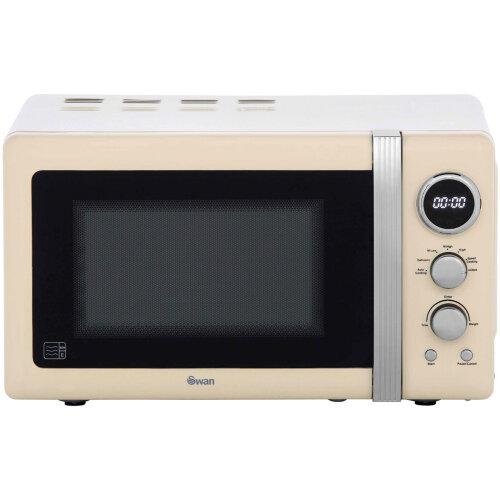 Swan Retro Digital 20L Microwave 800W Freestanding Countertop Five Power Levels in Cream