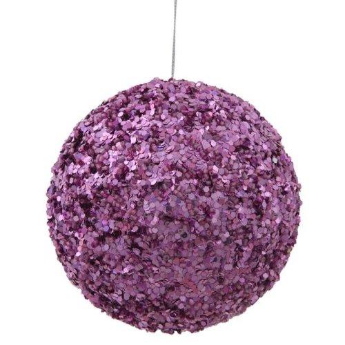 Dark Mauve Sparkle Sequin Kissing Ball Ornament - 4.75 in.