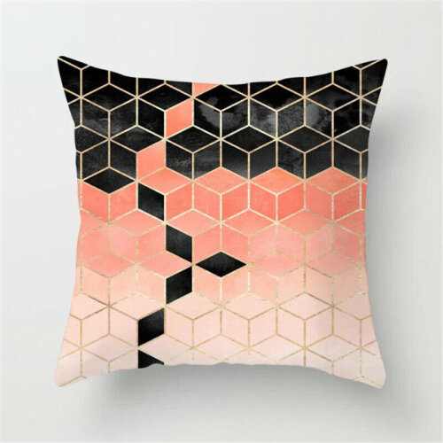 (#4 Geometric) Geometric Throw Pillow Case Cushion Covers Simple Cyan-blue Home Sofa Bed Decors