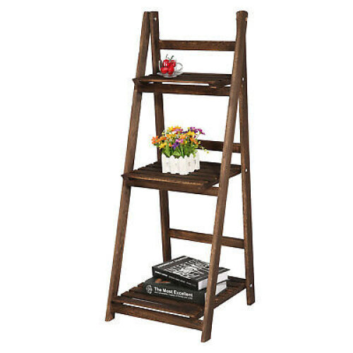 Folding 3-Tier Wooden Plant Stand | Ladder Shelves Display & Storage
