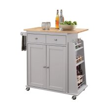 Home Roots Kitchen 286674 34 x 35 x 18 in. Rubber Wood & MDF Kitchen Cart - Natural & Gray