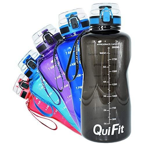 QuiFit 2 Litre Water Bottle - with Strainer & Time Marker, Fruit Infuser Travel Water Bottle BPA Free Ideal for Sport Outdoor Fitness Gym (Black, 2