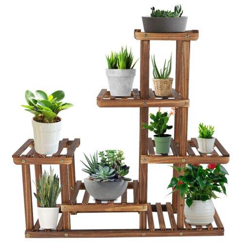 Delaman Multi-Tier Plant Stand Pine Wood Flower Storage Display Shelve