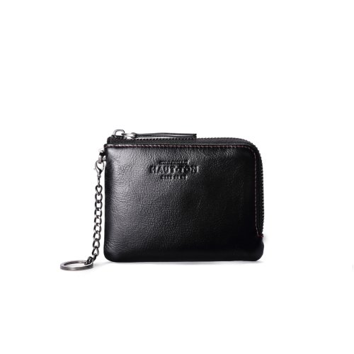 "Hautton Leather Black Zip Around Key Chain 4.5"" Secure Wallet"