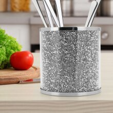 Crushed Diamond Silver Crystal Filled Utensil Holder Kitchen Storage