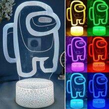 Among us 3D Illusion Desktop Lamp Coffee Table Decor LED Sensor Night Lamps