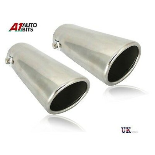 2x Exhaust Pipe Tip Chrome  Stainless Steel Trim Audi A4 B8 Tailpipe New